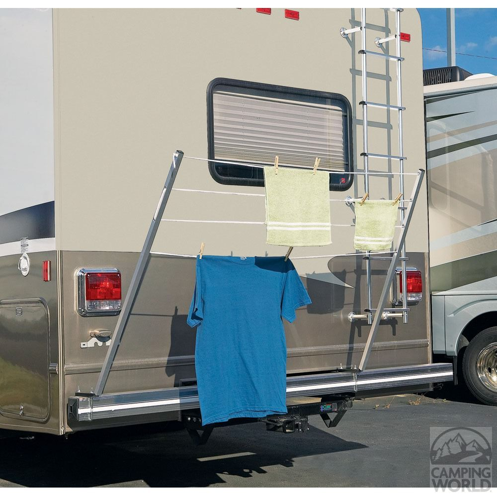 Bumper Mount Rv Clothesline Two 48 In Bars Mounted On