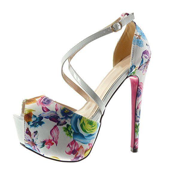 abcfcf94ddb9 Angkorly - Chaussure Mode Escarpin Sandale stiletto plateforme sexy femme  fleurs lanière Talon haut aiguille 15