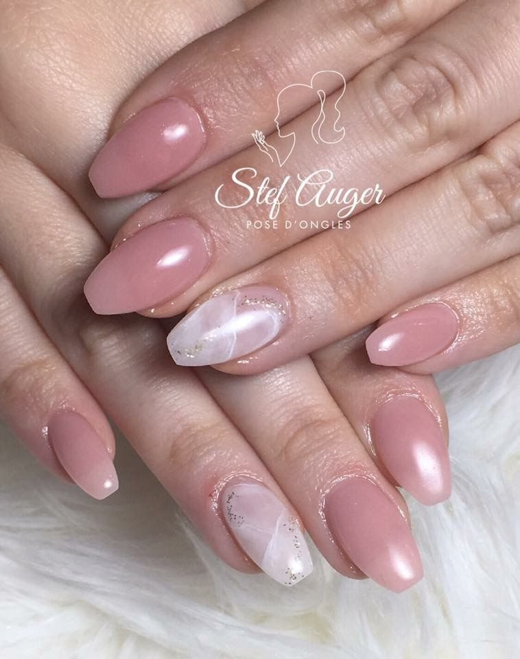 Nails Art Rsine Et Poudre Pink Gold Ongles Rose Light Nail