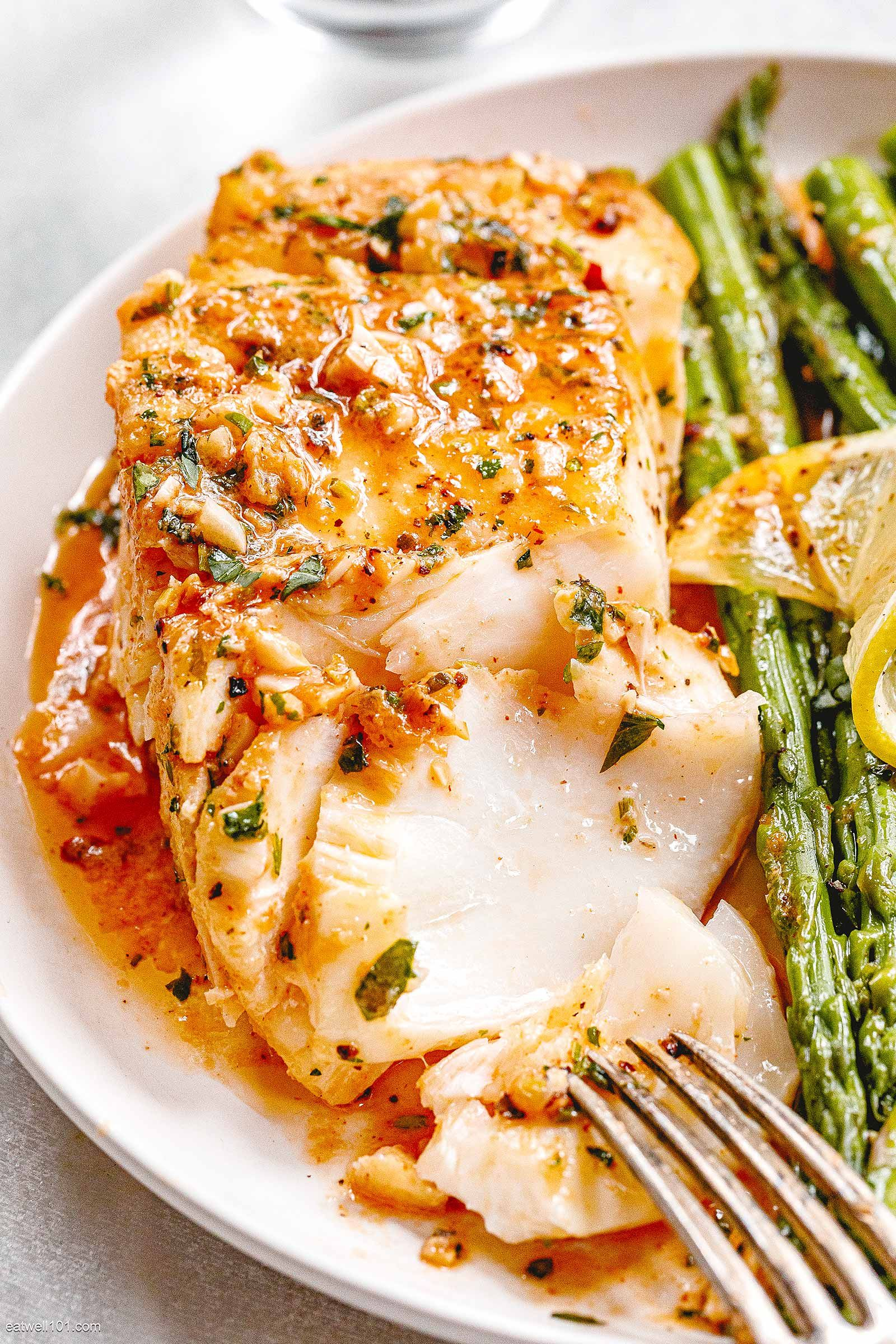 Garlic Butter Cod with Lemon Asparagus Skillet
