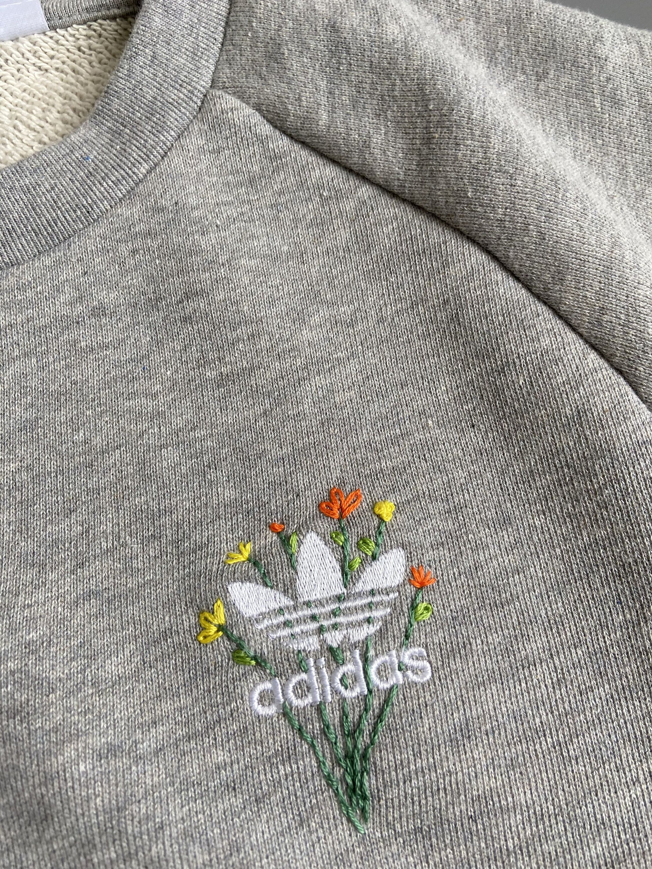 Excited To Share The Latest Addition To My Etsy Shop Hand Embroidered Adidas Sweatshirt H Embroidered Sweatshirt Diy Sewing Embroidery Designs Stitch Clothes [ 3000 x 2250 Pixel ]