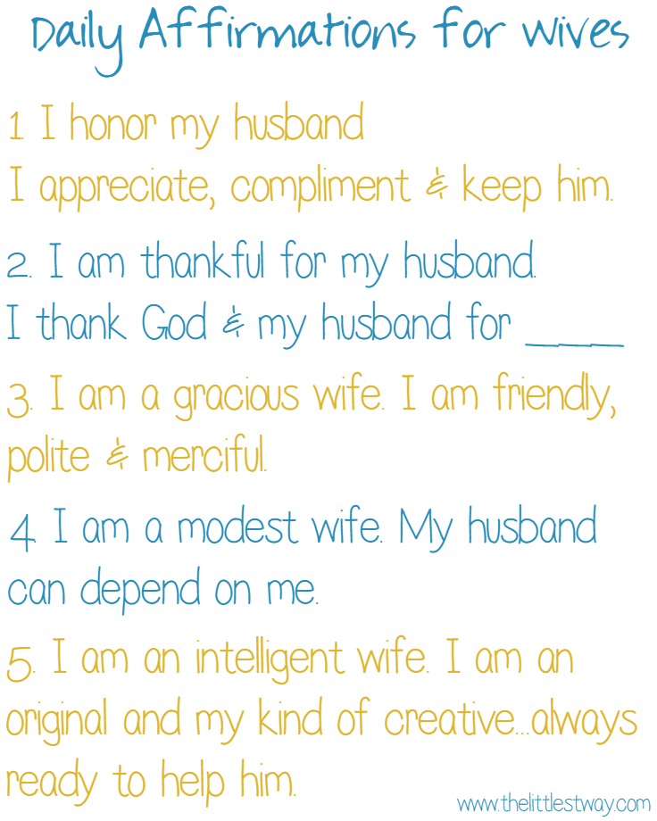 Daily Affirmations for Wives Affirmation Thoughts and God jesus
