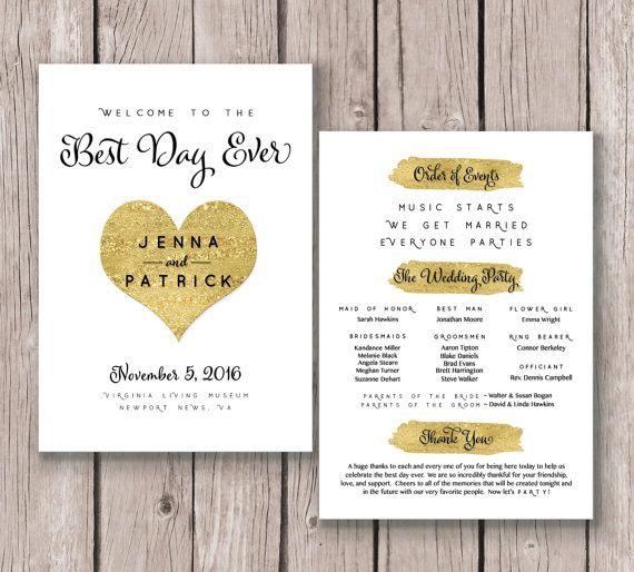 Wedding Program Black White Gold Printable By PerfectlyMatched