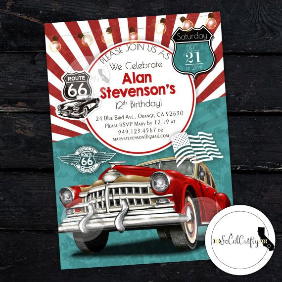Vintage Car Birthday Party Invitation by socalcrafty Printed or – Printable Cars Birthday Invitations