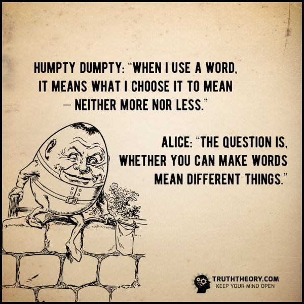 """Humpty Dumpty: 'When I use a word, it means what I choose ..."