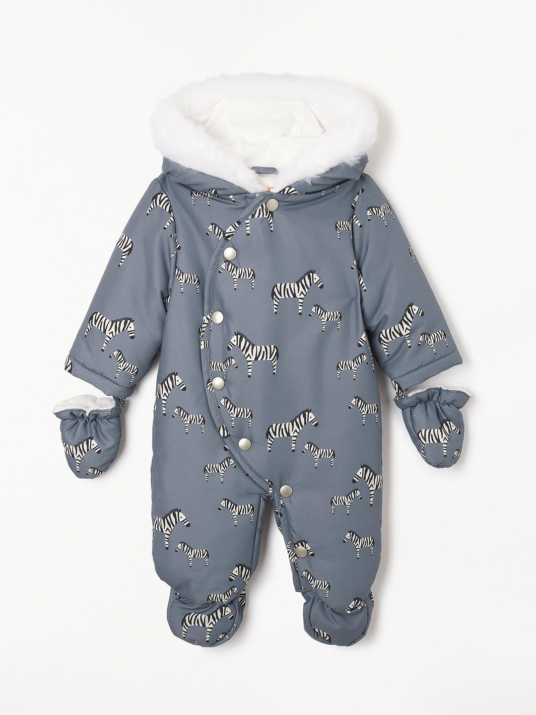 John Lewis Partners Baby Zebra Snowsuit Grey Newborn Boy Clothes Baby Zebra Baby Boy Outfits Swag