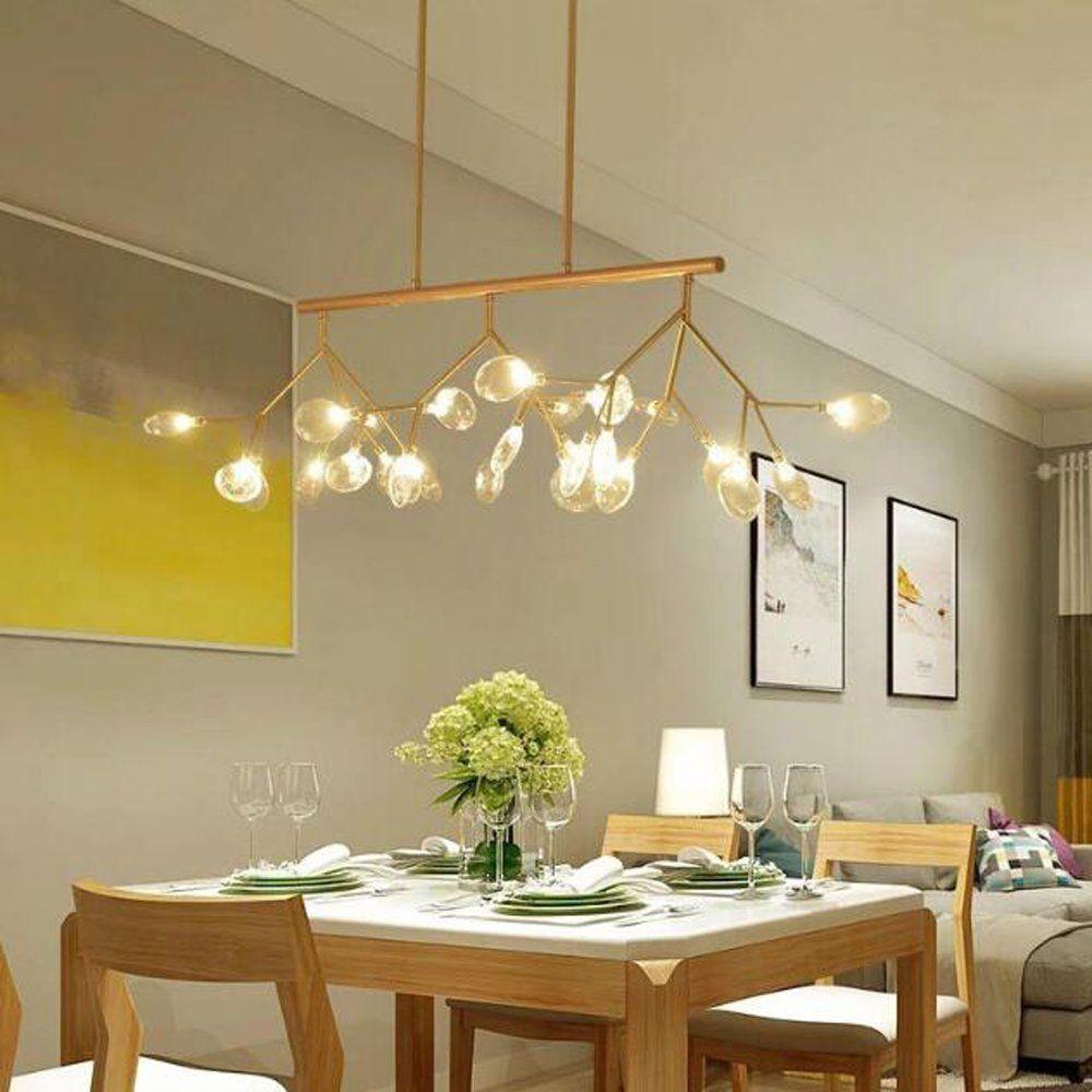 New Modern Firefly 27 Leds Pendant Light Glass Diy Design Dendriform Chandelier Ceili Lamps Living Room Kitchen Island Lighting Kitchen Island Lighting Pendant