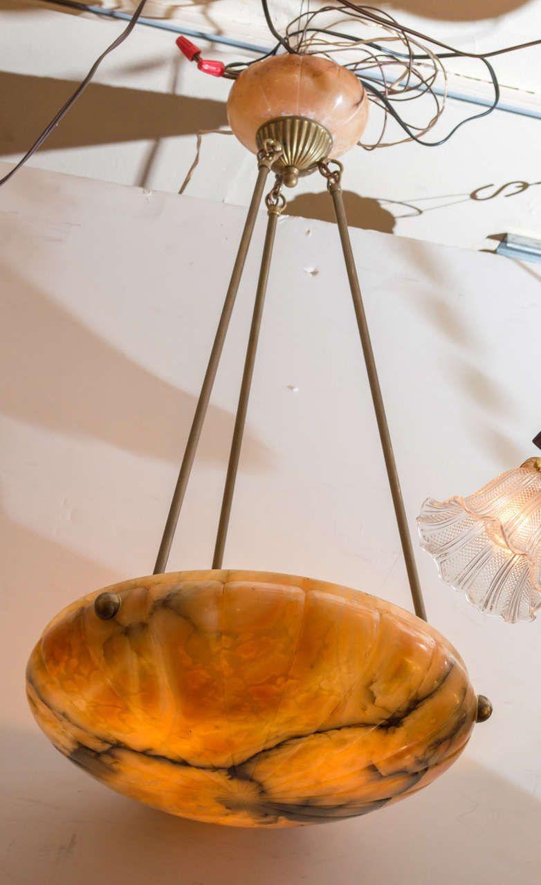 Alabaster pendant or bowl chandelier with art deco design art alabaster pendant or bowl chandelier with art deco design mozeypictures Gallery