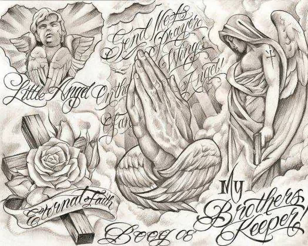 Praying Hands And Ange Chicano Tattoo Design Chicano Art Tattoos Chicano Tattoo Boog Tattoo