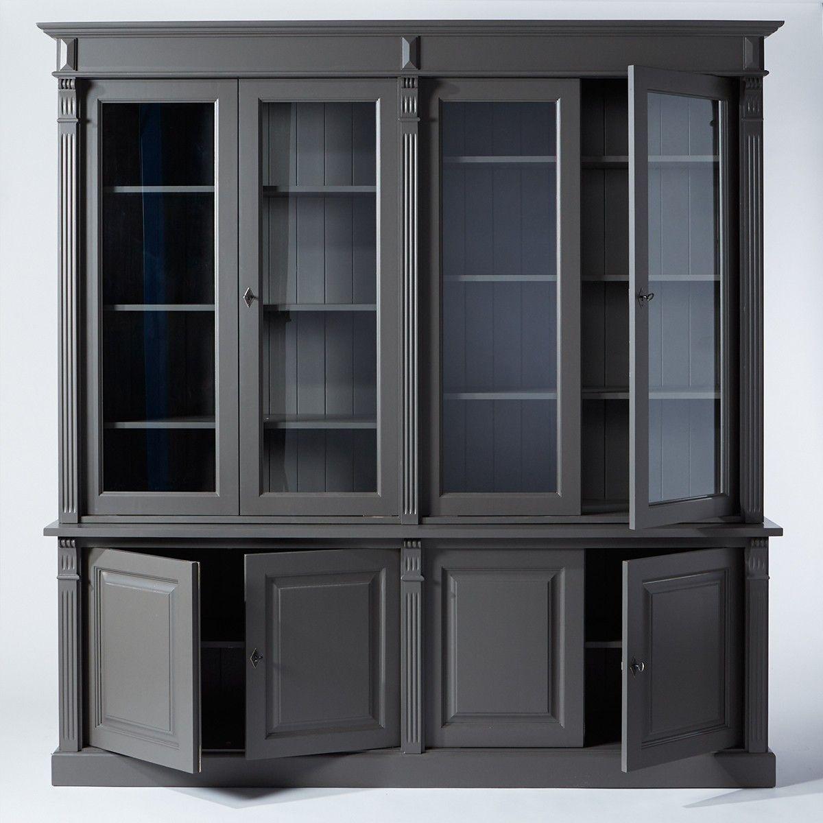 grand buffet vaisselier gris fonce avec 4 portes et nombreuses etageres style intemporel convient a tous les interieurs