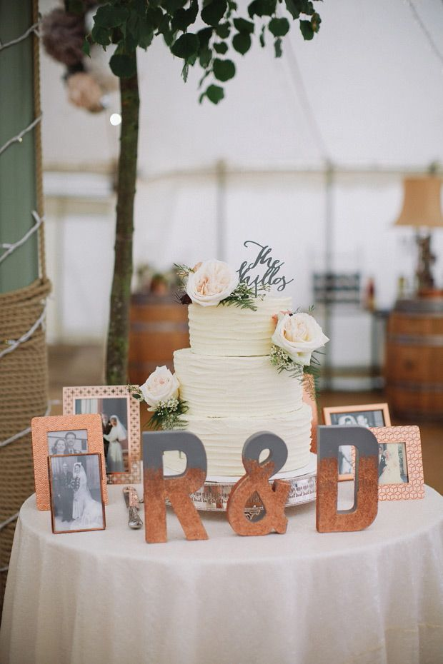 Cream, copper and gray wedding cake table | www.onefabday.com                                                                                                                                                                                 More