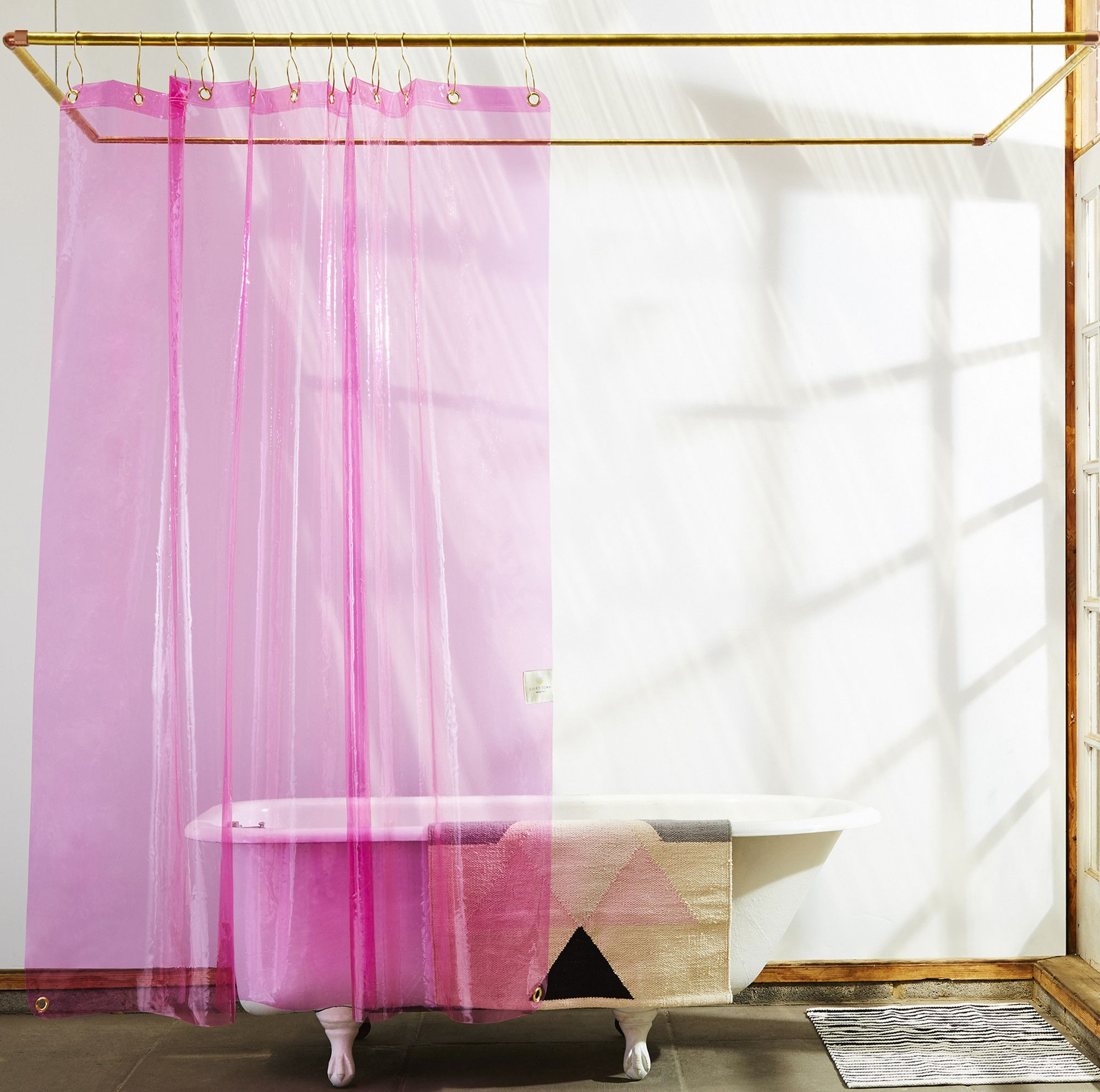 Sun Shower Clear Pink Non Toxic Liner Quiet Town Pink Shower Curtains Vinyl Shower Curtains Small Bathroom Decor