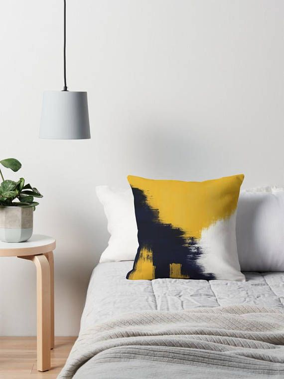 Abstract Throw Pillow Cover Mustard White And Navy Cushion Bedroom Cushions Navy Blue Living Room Lounge Cushions