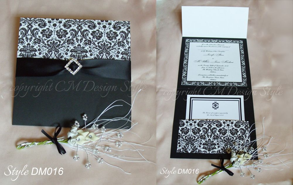 handmade black and white #damask #wedding invitations with satin ...