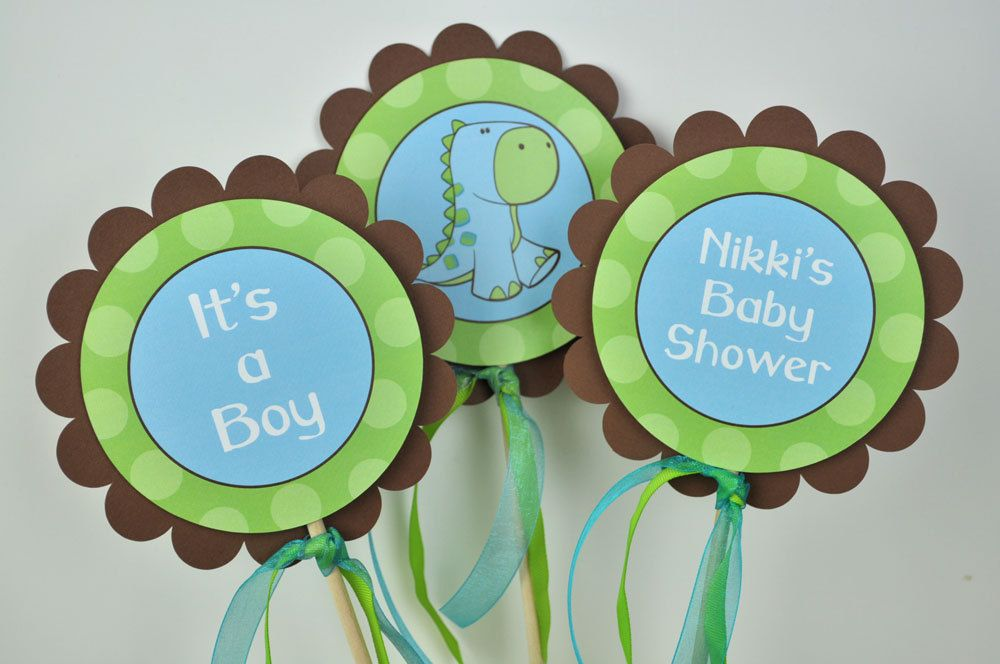 Baby Shower Themes Dinosaurs ~ 3 centerpiece sticks dinosaur baby shower brown green and blue