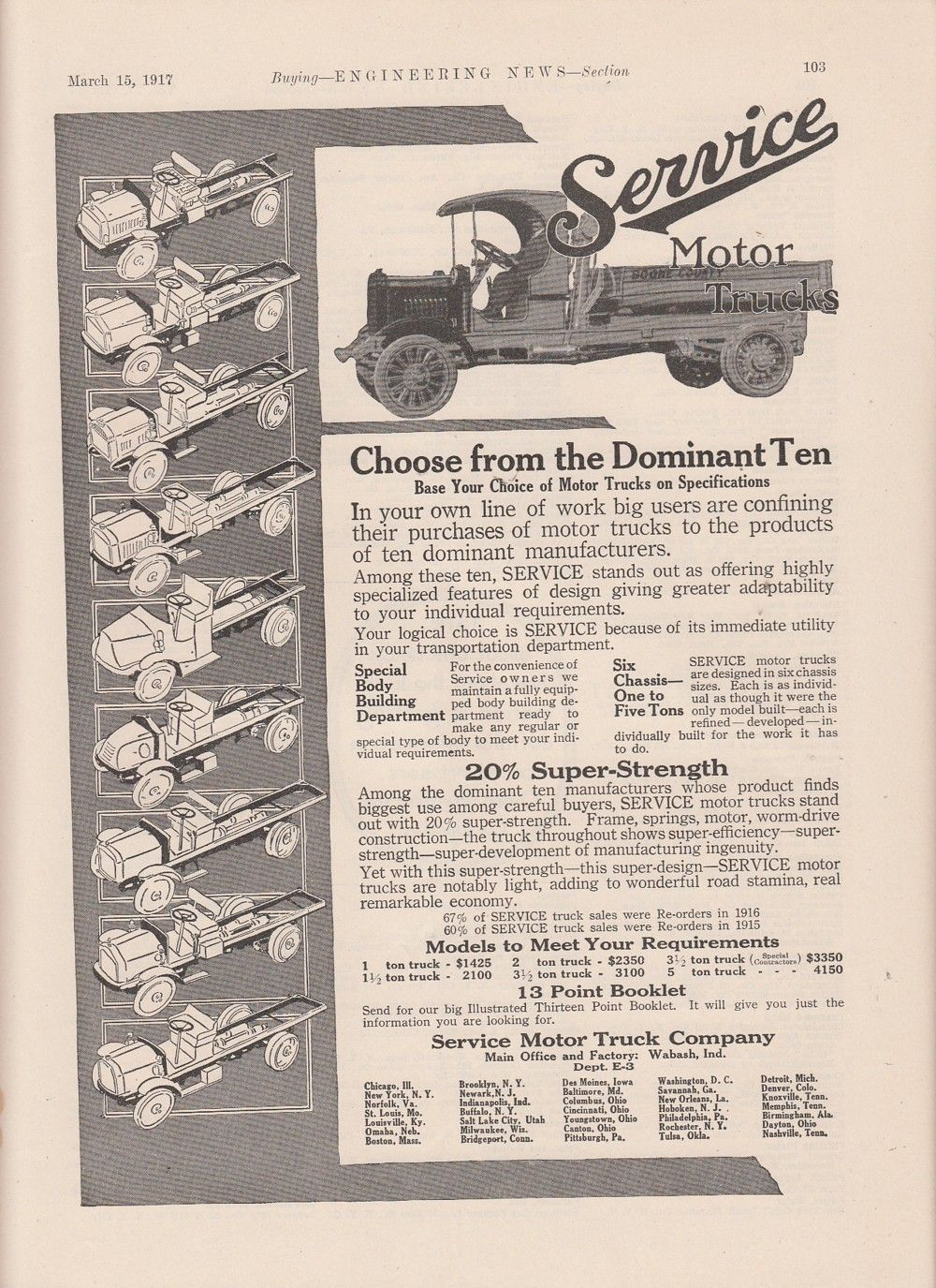 1917 Service Motor Truck Co Wabash in Ad Choose from 10 Different ...