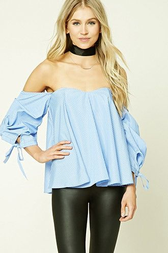 4e40b78ab1bf3c Pinstripe Off-the-Shoulder Top