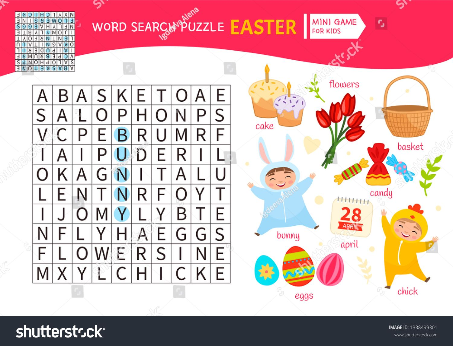 Educational Game For Kids Word Search Puzzle Kids Activity Sheet Cartoon Easter Symbols Ad Kids Word Search Educational Games Activity Sheets For Kids