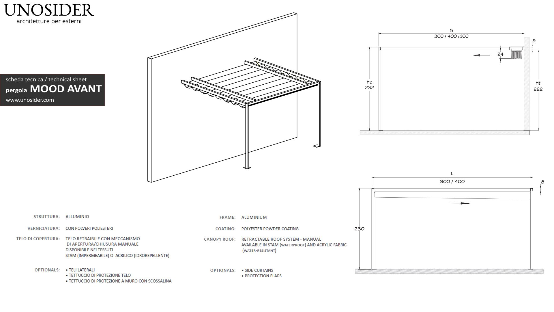Unosider Linea Contemporanea Scheda Tecnica Pergola Mood Avant Jpg 1920 1080 Pergola Simple Designs Design