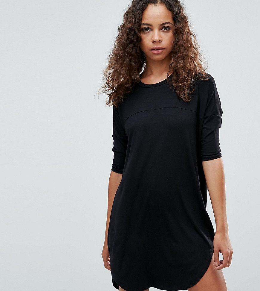 a67c6c75574 ASOS PETITE Oversize T-Shirt Dress with Seam Detail - Black | Shop ...
