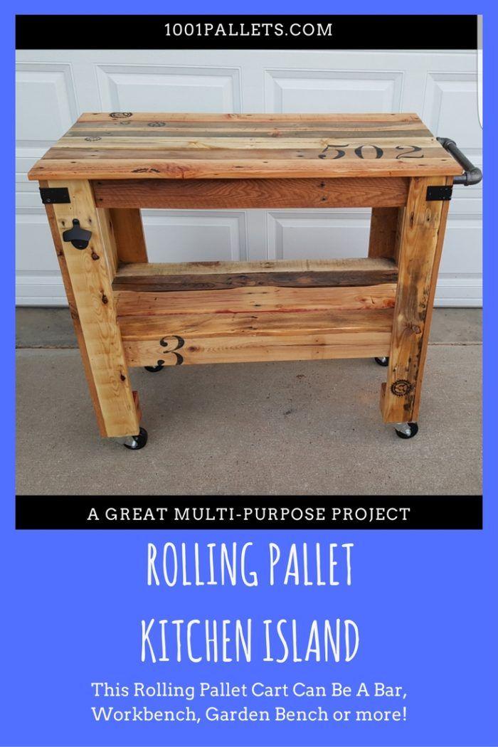 Rustic Mobile Pallet Island Or Pallet Bar | Pallet Bars