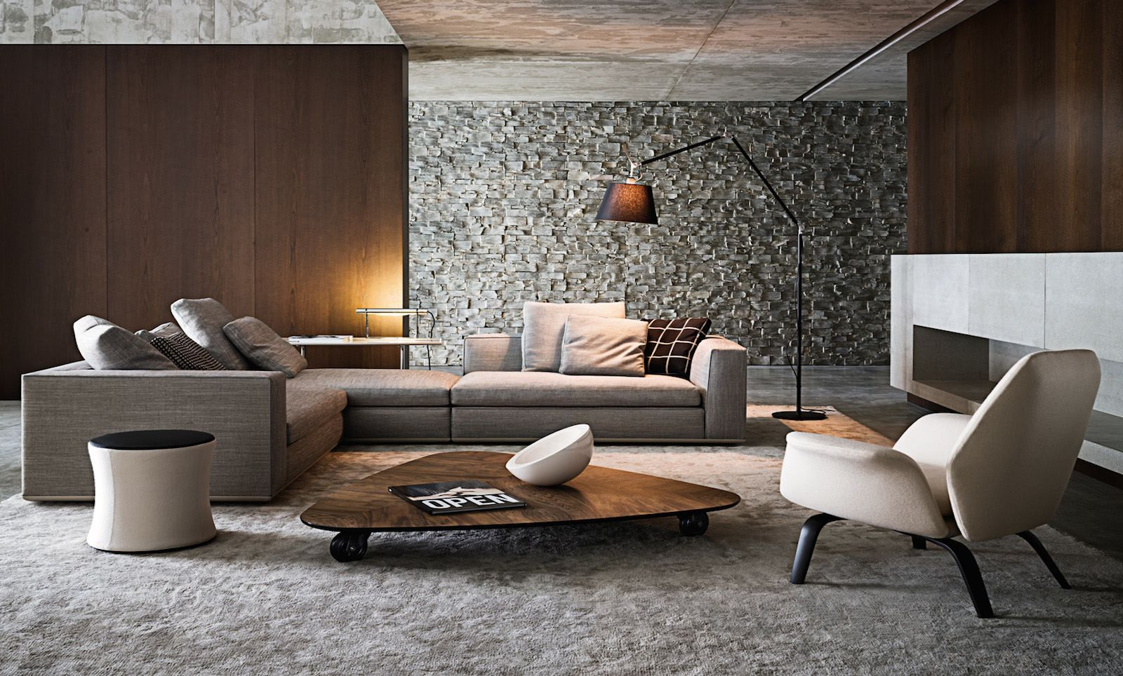 Pin By Simone Borges Arquitetura On Living Moderno Pinterest  ~ Brown Sofa With Gray Walls