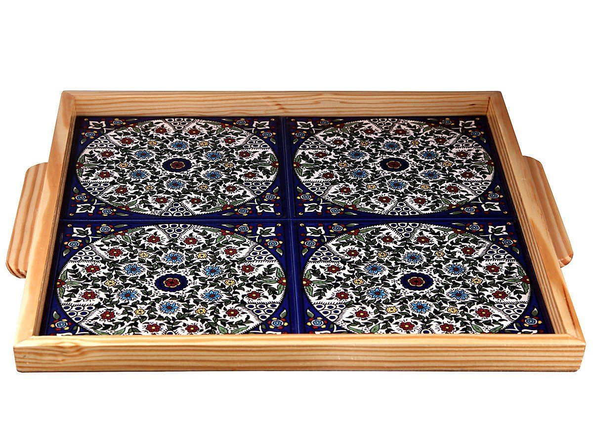 Size: 12.6 X 14.6 / 32 X 37 cm This gorgeous ceramic tray is full of bright cheerful color! Keep it on the mantel as a decoration, or take it down and use. Manufacturing Process: Eac