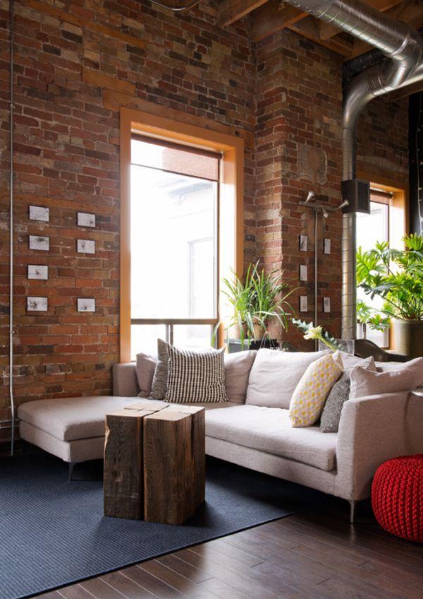 Décorer son intérieur avec un mur en briques rouges Living room