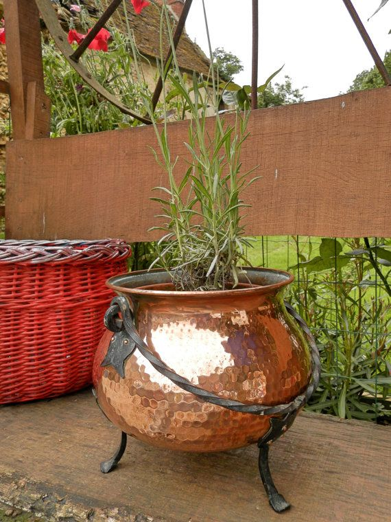Big Vintage French Copper Flower Planter Cauldron Planter Copper