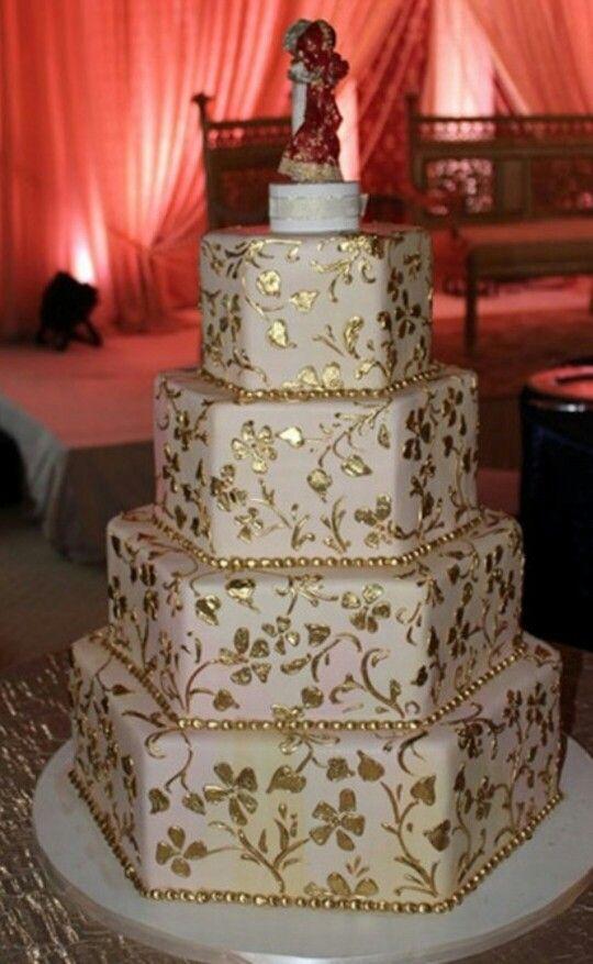 Gold and Cream leaf wedding cake..