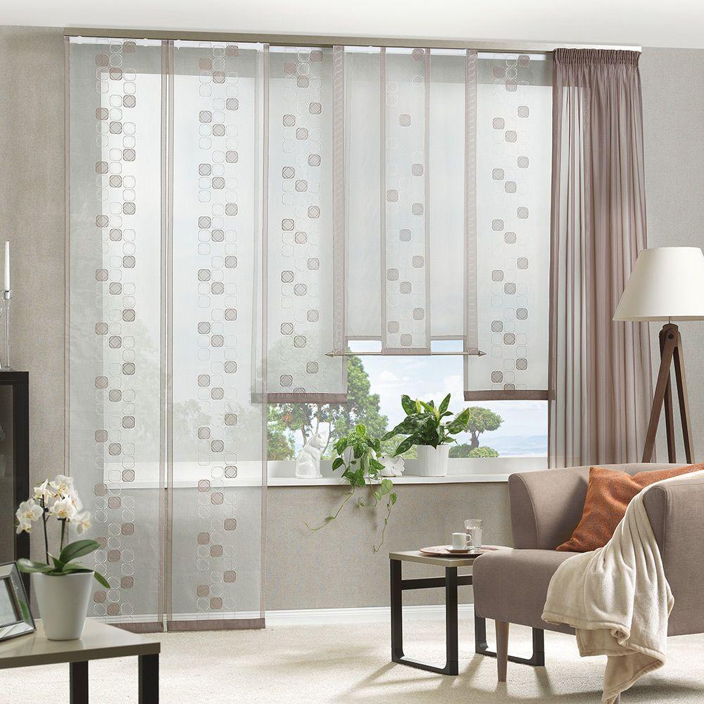 Flächenvorhang Bestickter Organza Mit Voile Applikationen Ab 40 Cm Breit Fensterbehang Mit Abschluss Gardinen Wohnzimmer Gardinen Wohnzimmer Modern Vorhänge