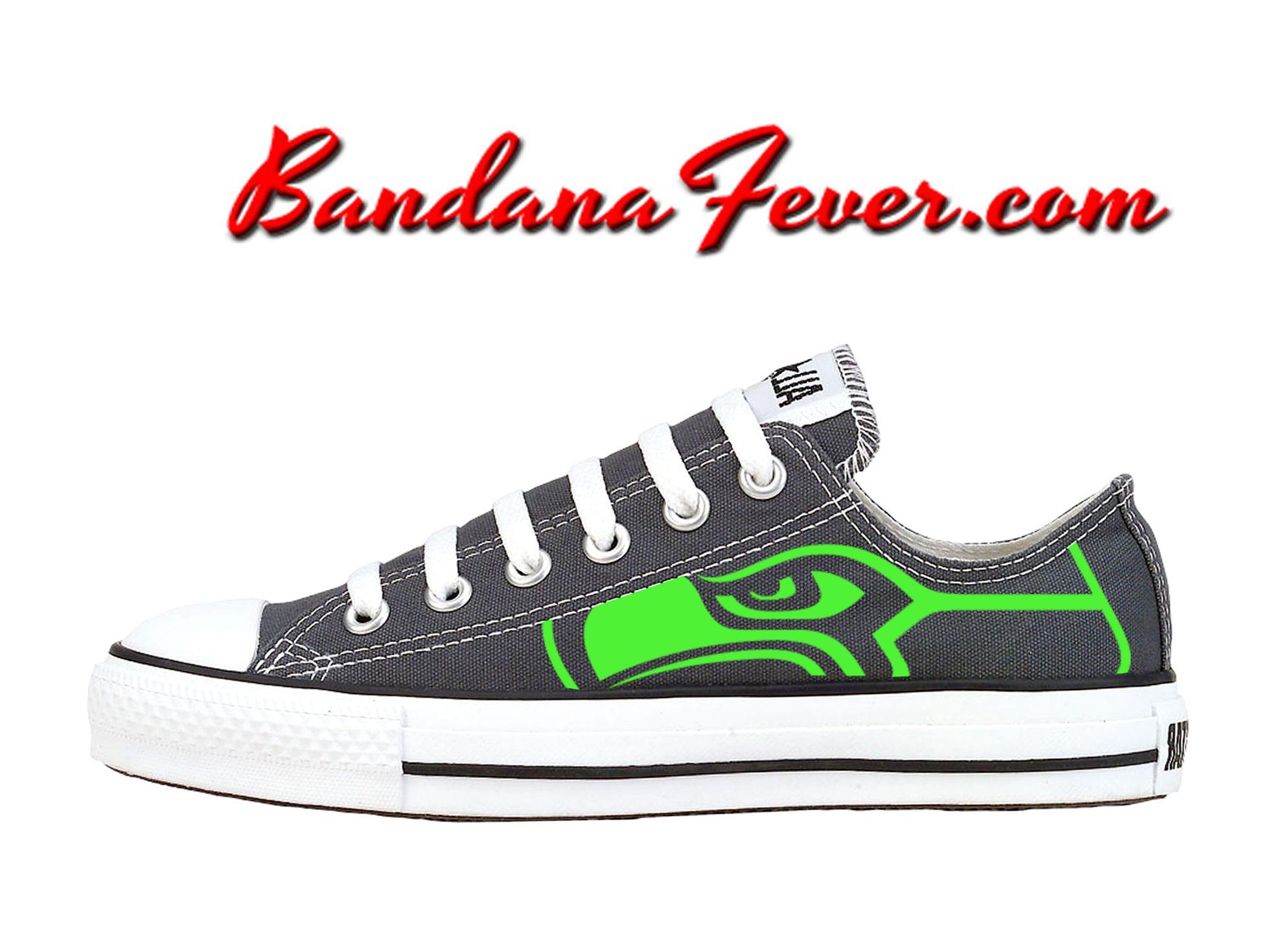 c940809ecd0d Custom Seahawks Lime Converse Shoes Low Charcoal