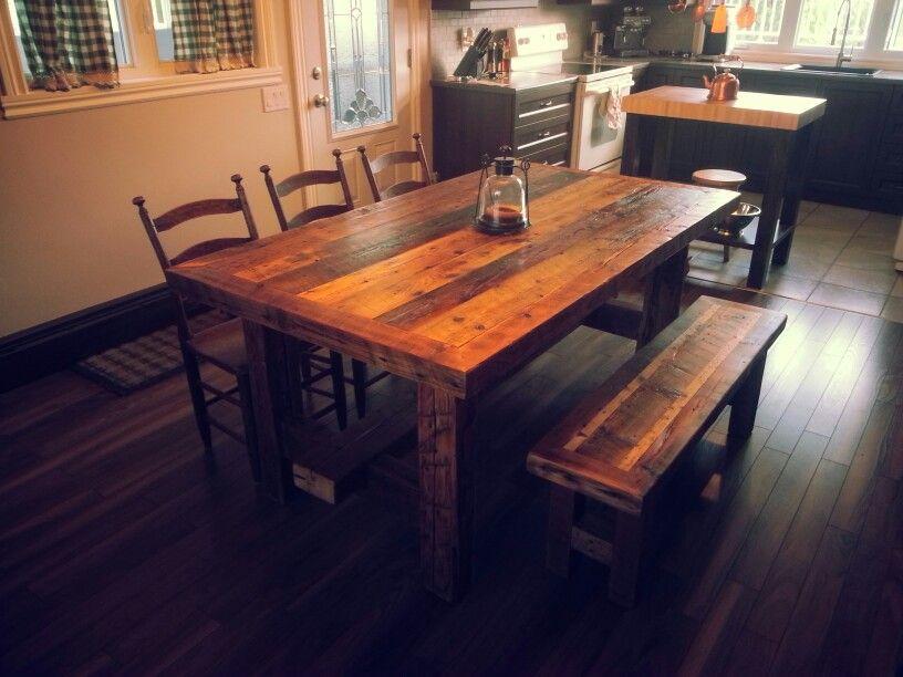 Table de cuisine rustique fabriqu par conception st am bois de grange dining table table - Table cuisine pin ...