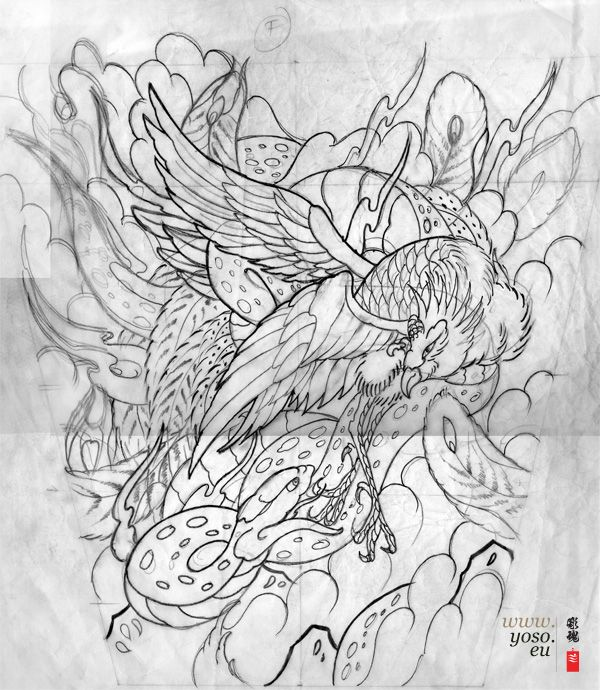 Japanese Tattoo Line Drawing : I like the legs on phoenix phoenixes pinterest