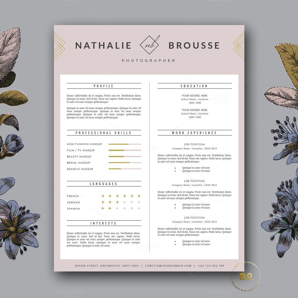 Feminine Resume Template For Ms Word By Botanica Paperie On