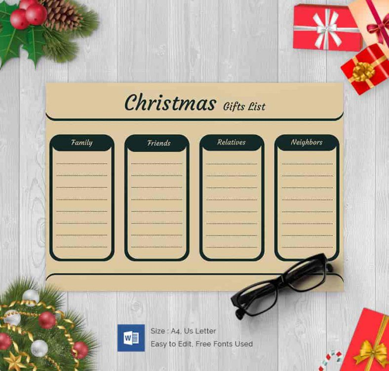 Fully Editable Christmas Gift List 788x753 , 24+ Christmas Wish List - Kids Christmas List Template