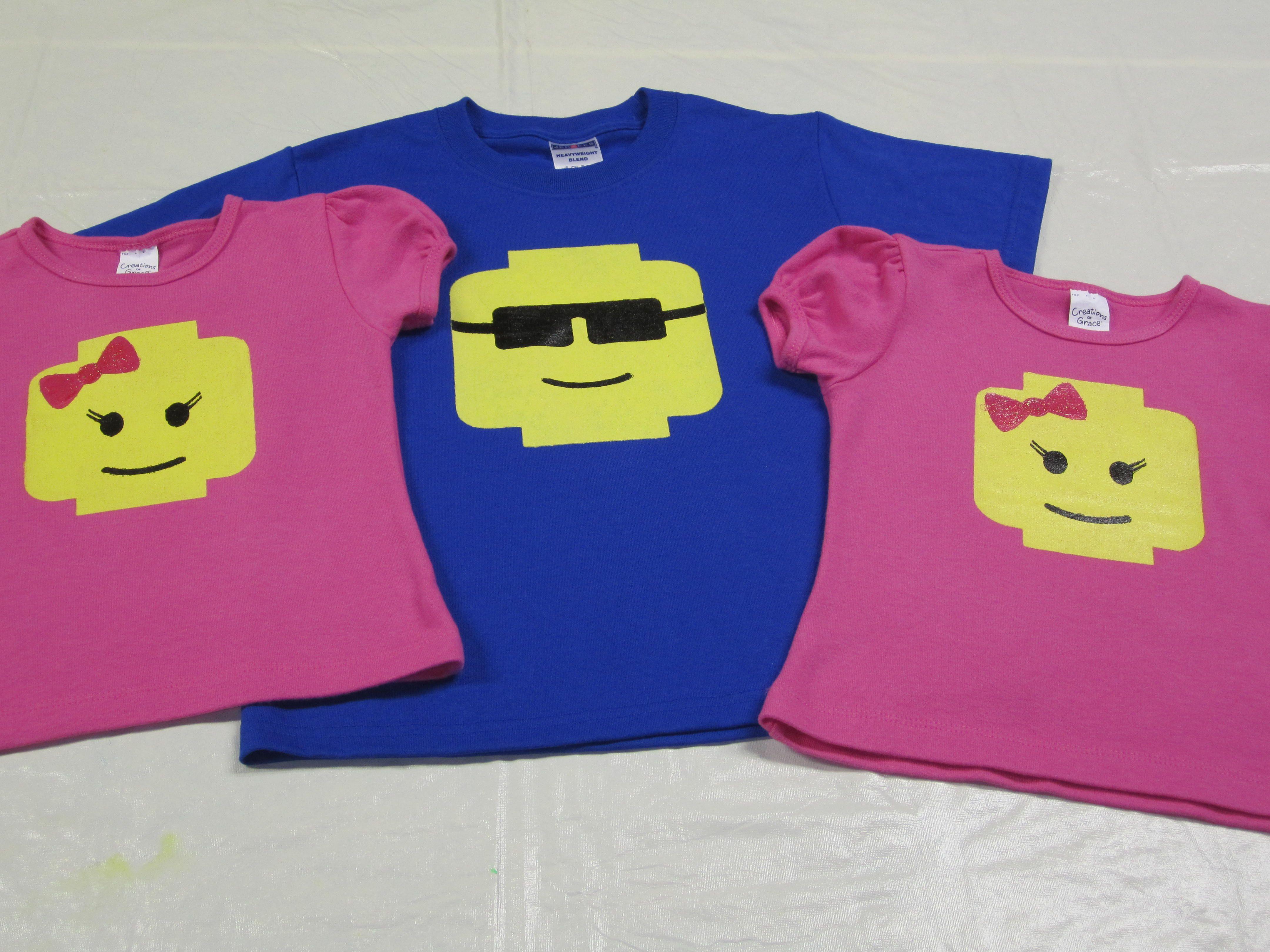 Lego Guy and Girl T Shirts made using Cricut Craft Room Freezer