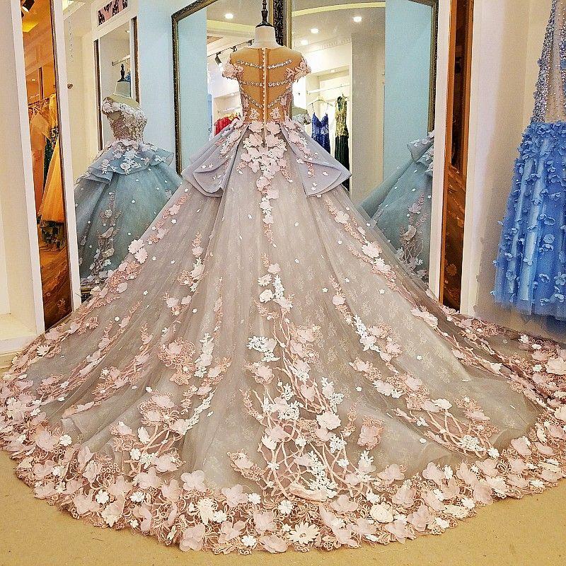 Cheap Haute Couture 3d Floral Exquisito Vestidos De Novia De Manga