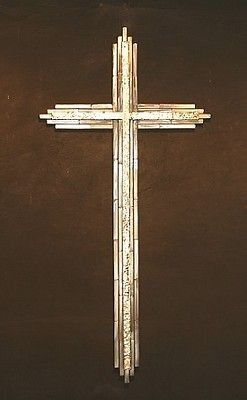 Large 44x23 Abstract Metal Cross Sculpture Wall Art Religious Gold