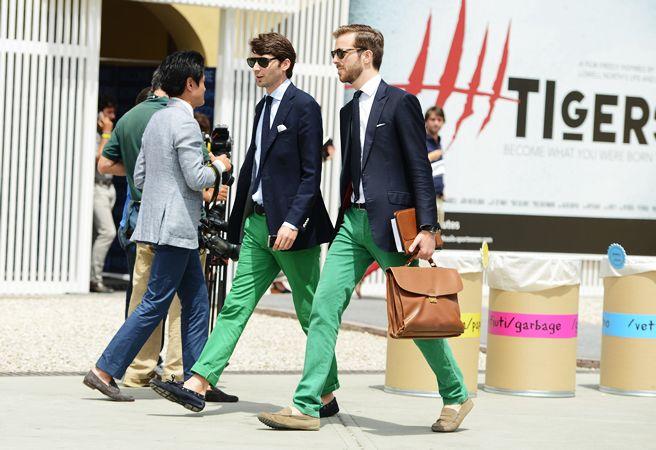 Men's Navy Blazer, White Dress Shirt, Green Chinos, Navy Suede ...