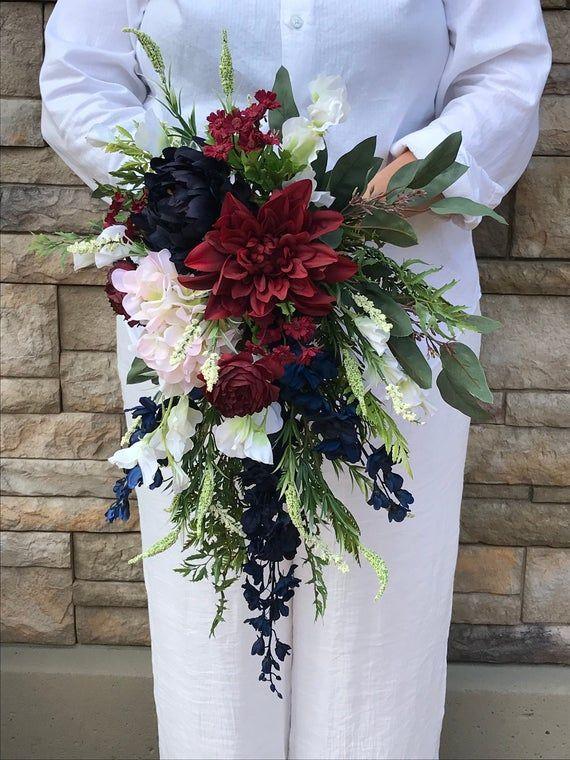 Cascading Silk Navy Burgundy Blush White Bridal Bouquet-Cascading Navy Bridal Bouquet-Navy Burgundy Bouquet Hydrangeas-Sweet Peas-Ranunculus #silkbridalbouquet Cascading Silk Navy Burgundy Blush White Bridal | Etsy #silkbridalbouquet