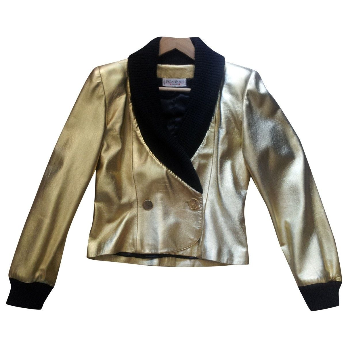 Leather jacket Yves Saint Laurent Gold size 40 FR in
