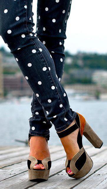 DIY polka dot jeans