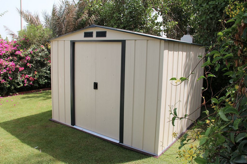 Duramax Duramax 10x10 Eco Shed Ivory With Dark Gray Trim Metal Shed Shed Plastic Sheds