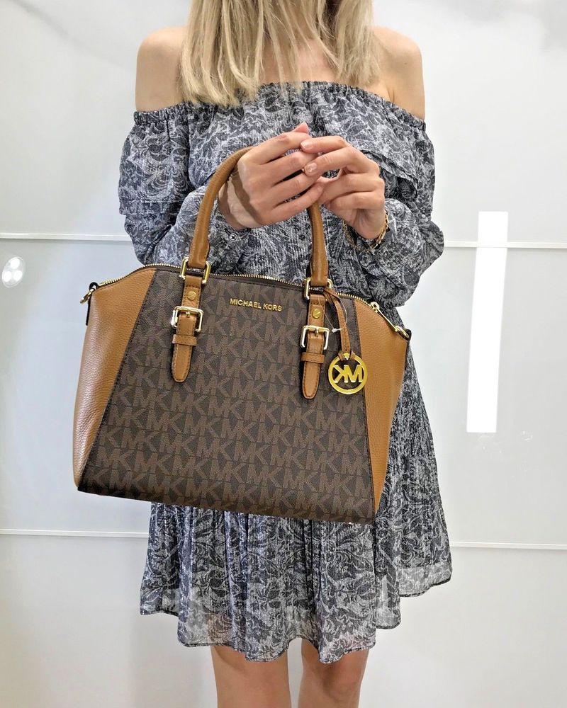 c65fa173e9 MICHAEL KORS CIARA LARGE BAG LOGO SIGNATURE CROSSBODY SATCHEL BROWN ACORN   MichaelMichaelKors  HandbagSatchelShoulderandCrossbodyBag