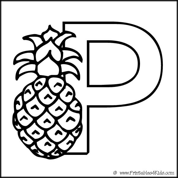 Alphabet Coloring Page Letter P Pineapple : Printables for