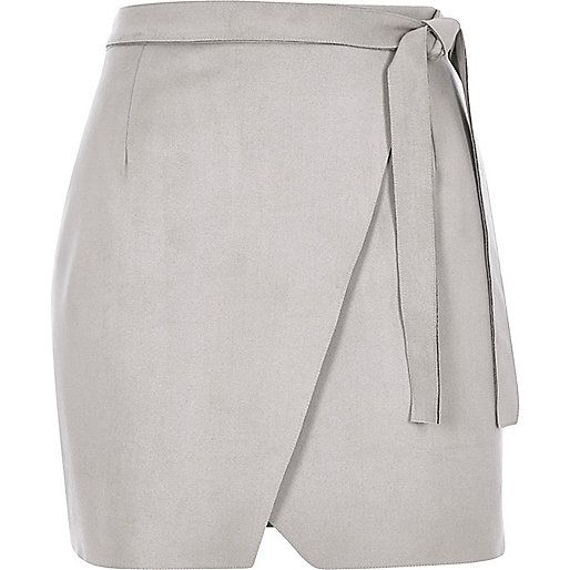 Light grey faux-suede wrap mini skirt - mini skirts - skirts ...