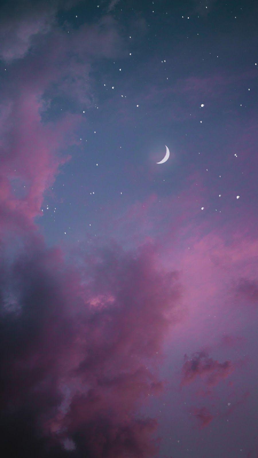 In The Night Wallpaper Night Sky Wallpaper Iphone Wallpaper Sky Pink Clouds Wallpaper