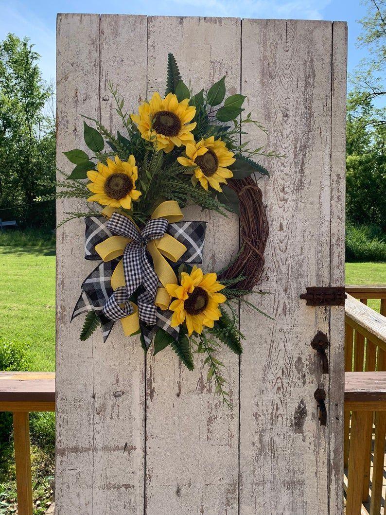 Photo of BEST SELLER sunflower wreath, summer wreaths for the front door, year-round wreath, autumn wreaths, …
