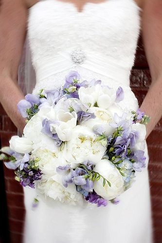 White And Ivory Bouquet With Touches Of Lavender Blue Wedding